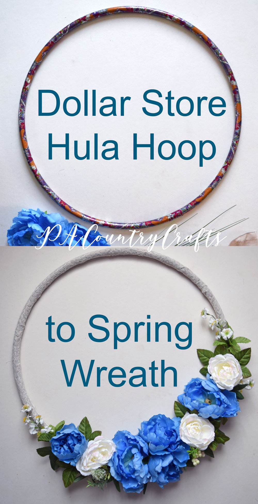 Dollar Store Hula Hoop to Spring Wreath