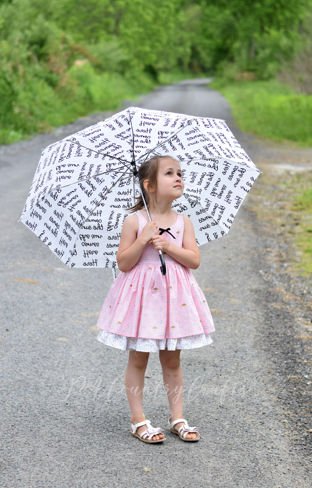 Umbrella dress made using When Skies Are Grey fabric
