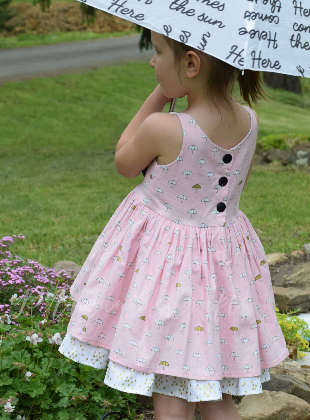 Sleeveless girls dress in When Skies Are Grey fabric by Simple Simon and Co