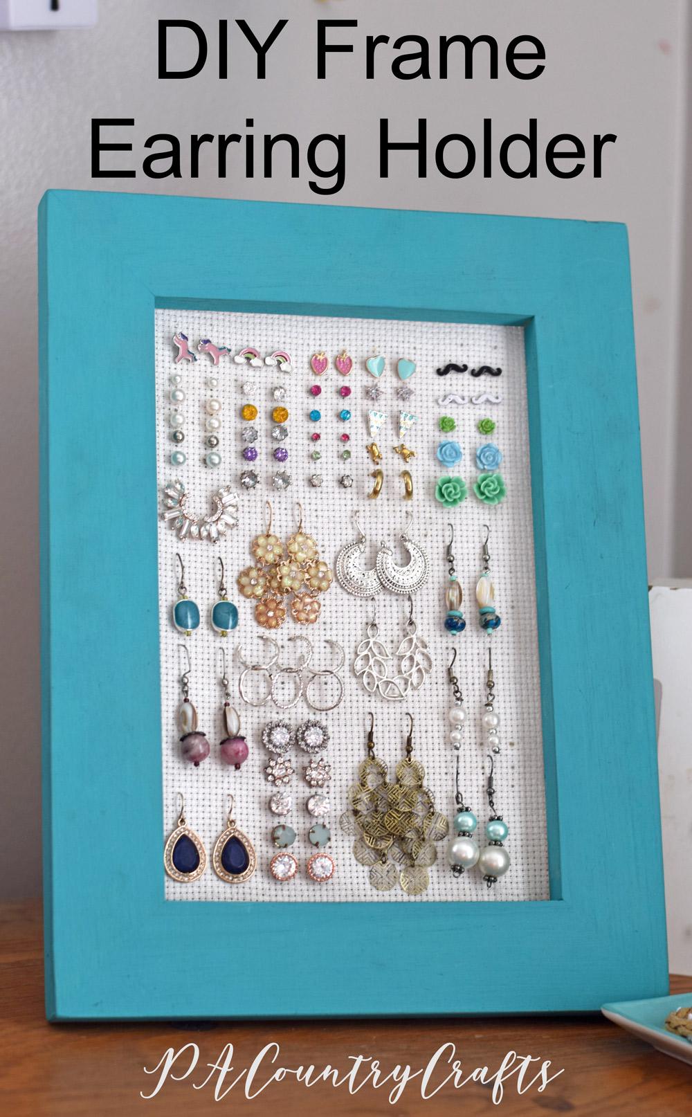 Make an easy frame earring holder that holds post earrings, too!