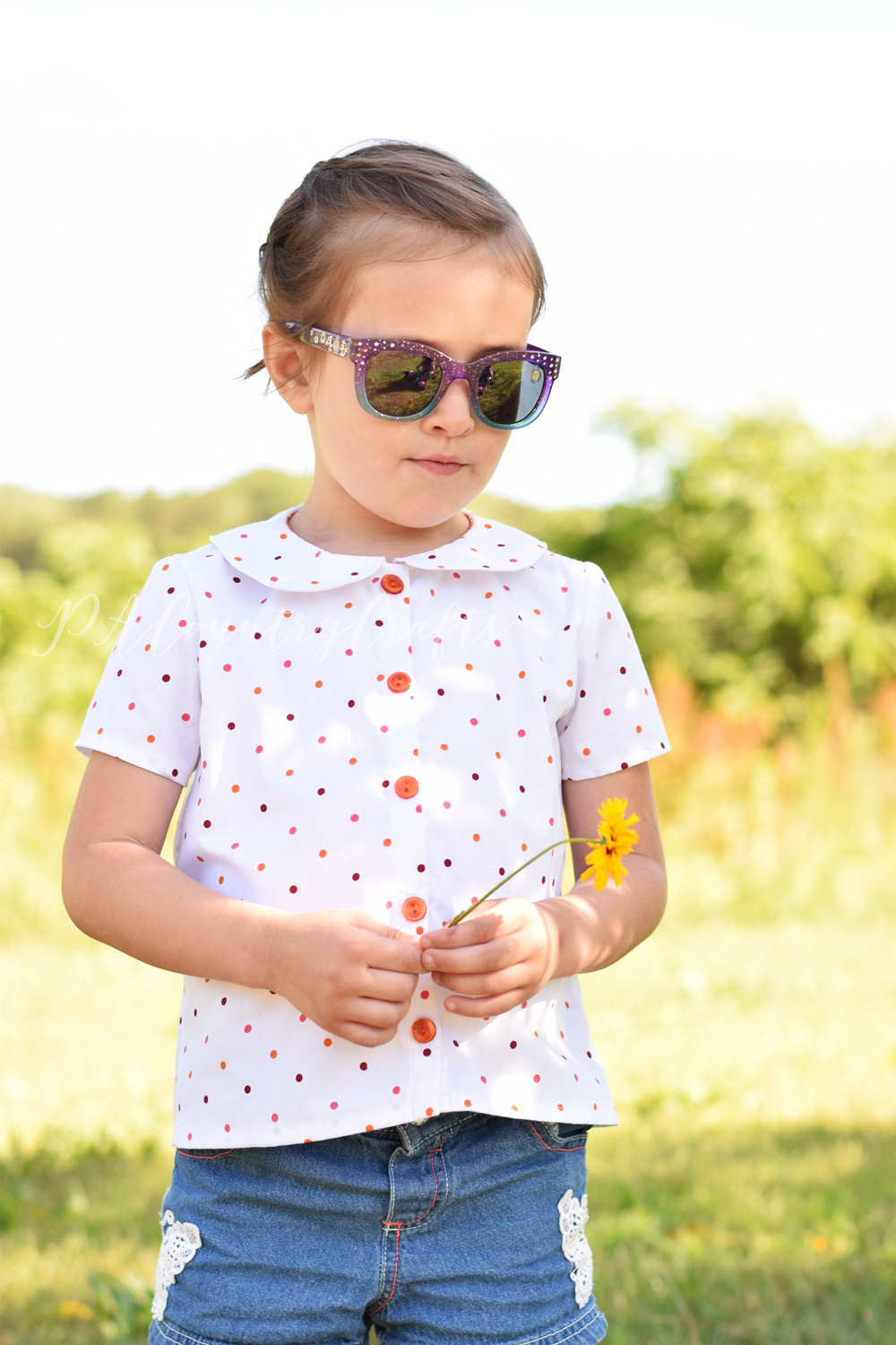 Girls blouse pdf sewing pattern- available through Project Run and Play