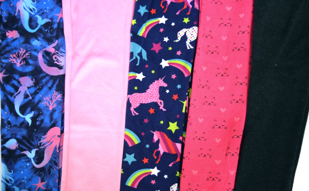 Girls leggings made with Doodles juvenile fabric from Joann Fabrics.