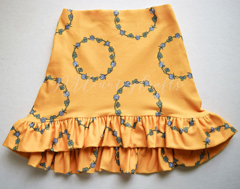 - 6. Sew the ruffle onto the skirt, being careful not to stretch the skirt fabric. Finish and topstitch seam if desired.
