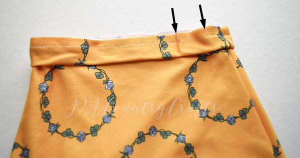 "- 9. With the raw edge together, align the side seams and sew the waistband to the skirt, leaving a 1"" opening."