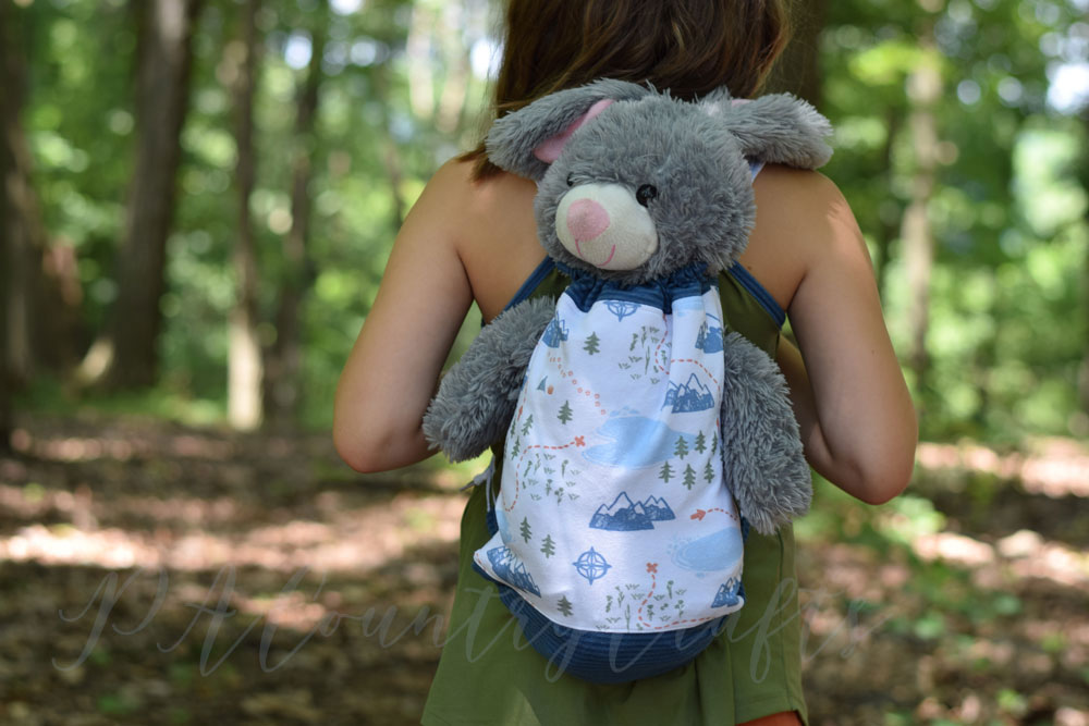 Make a drawstring bag that holds pajamas and a favorite stuffed animal!