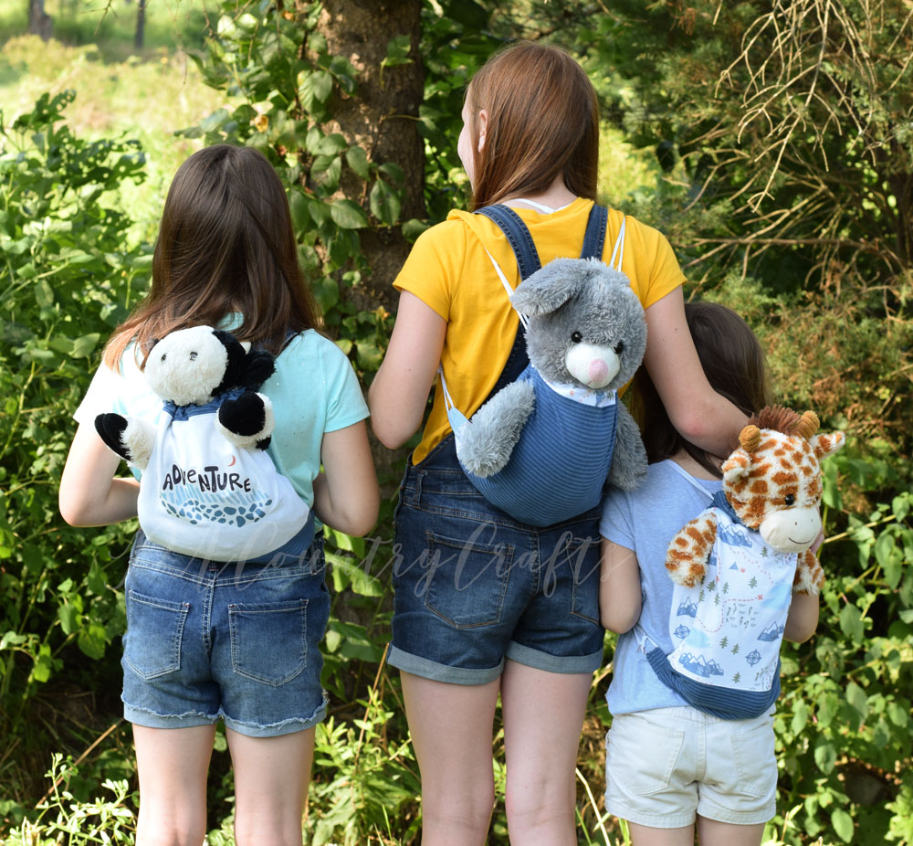 Drawstring bags perfect for camping or a sleepover- they even have arm holes for a favorite stuffed animal!