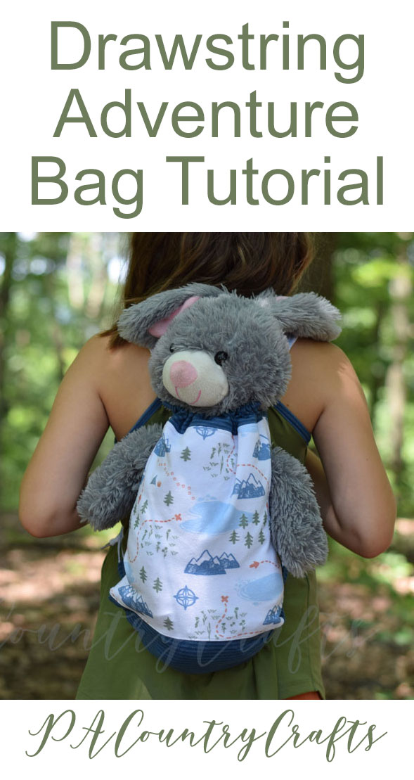 Drawstring Adventure Bag Tutorial- pajama bag with arm holes for a stuffed animal!