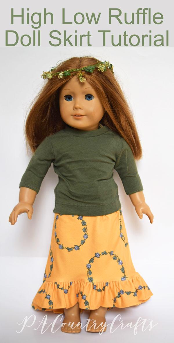 "High Low Ruffle Doll Skirt tutorial for 18"" dolls like American Girl."
