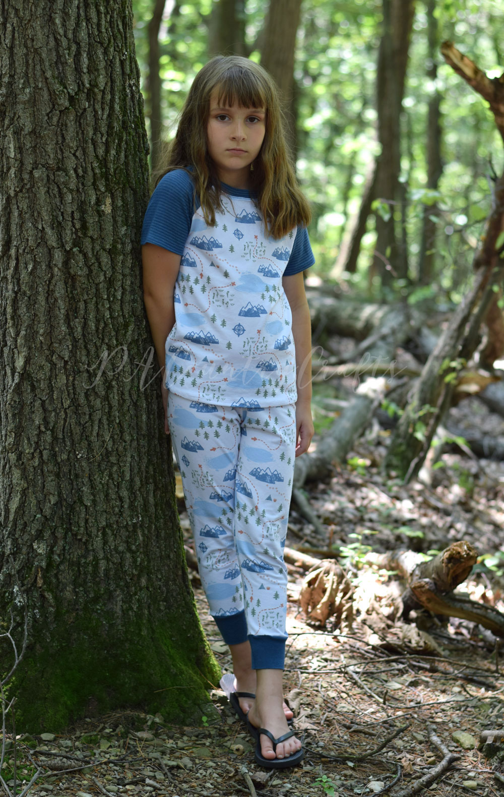 Adventure Mapped Cotton Jersey for Project Run and Play- Pajamas made of the Aurora Raglan for Sofiona Designs