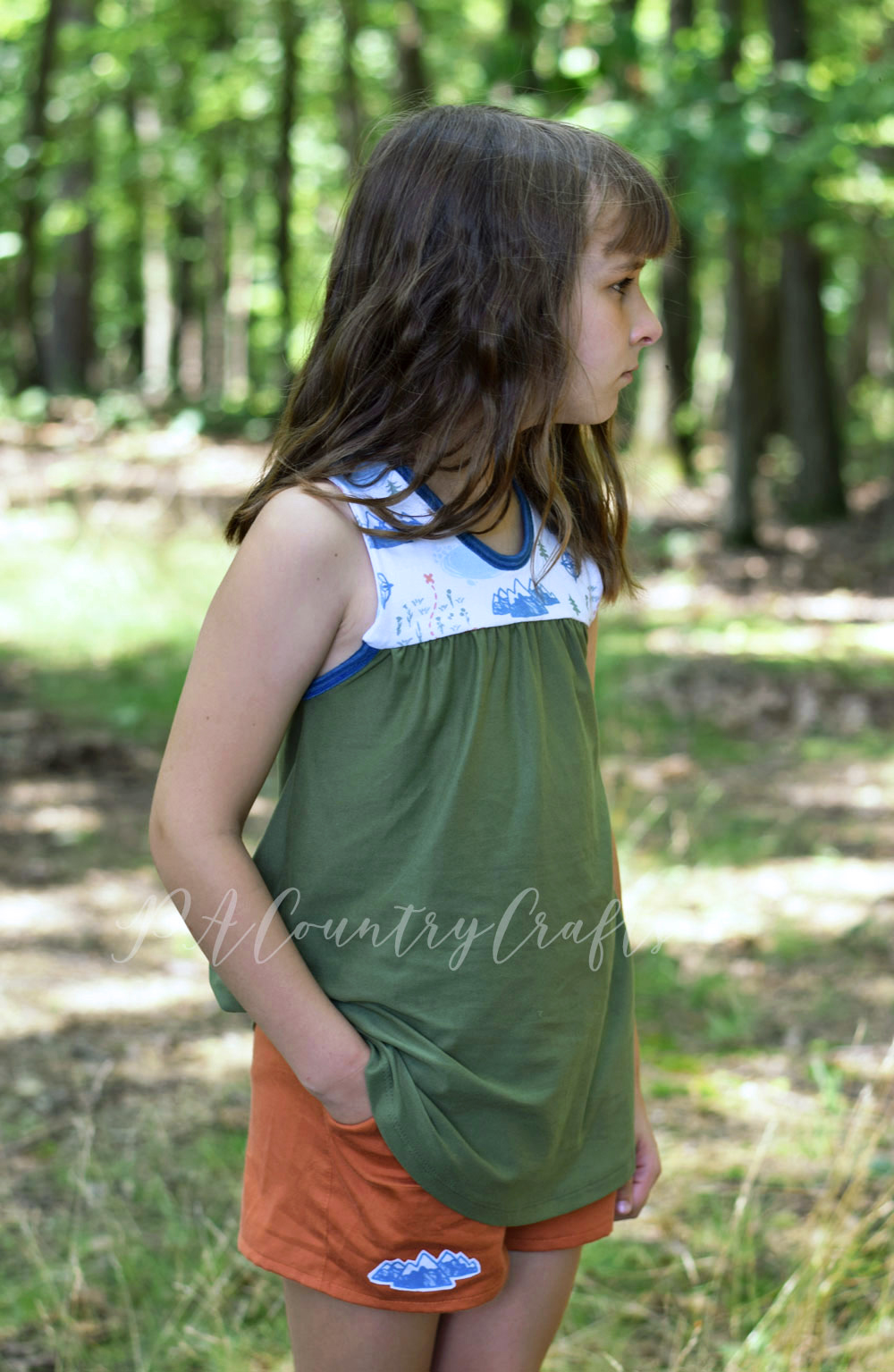Starry Night PJ tank and Seed Pattern Shorts- perfect for girls summer camping pajama sewing!