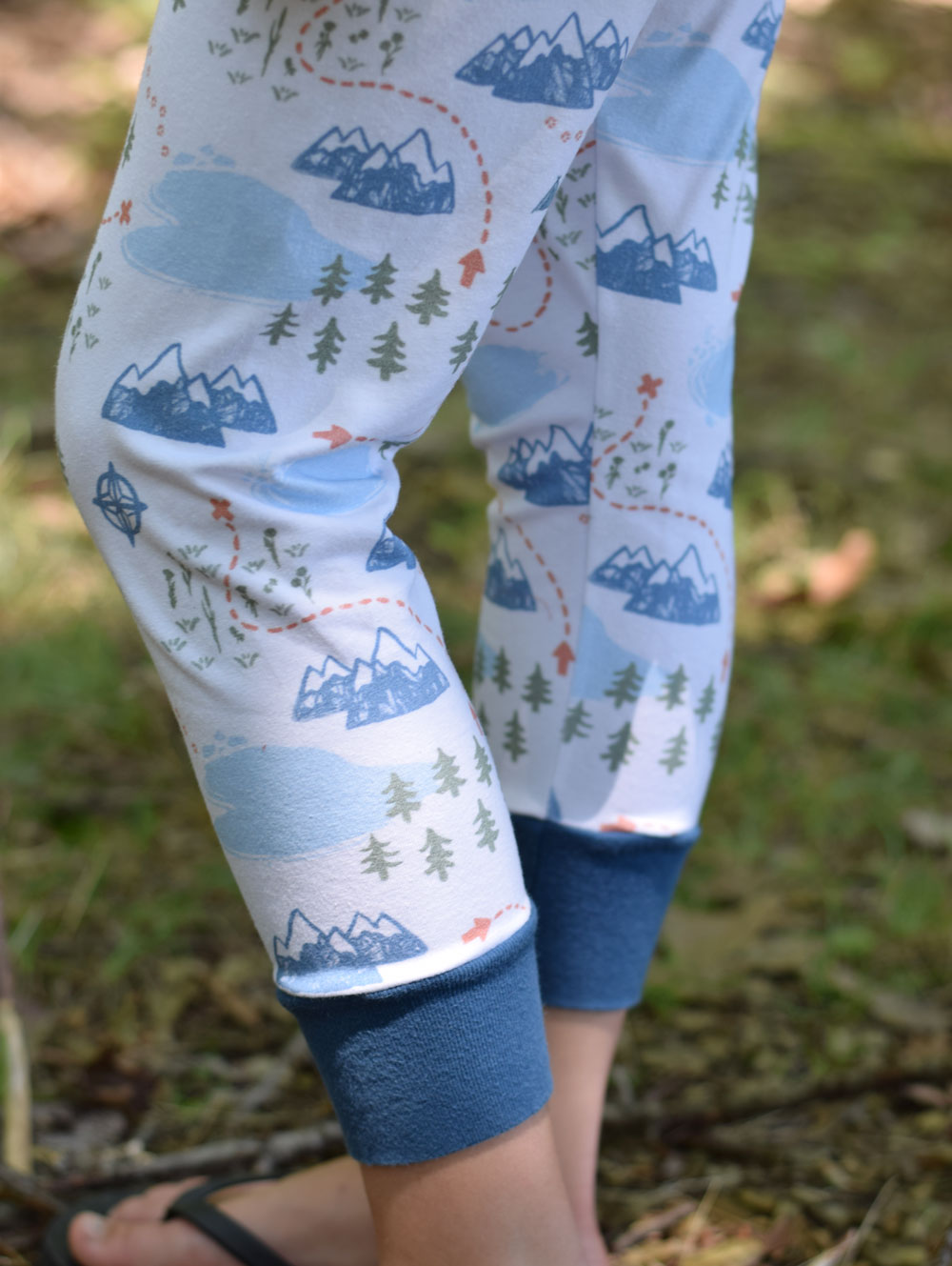 Pajama pants made with Adventure Mapped fabric for Project Run and Play