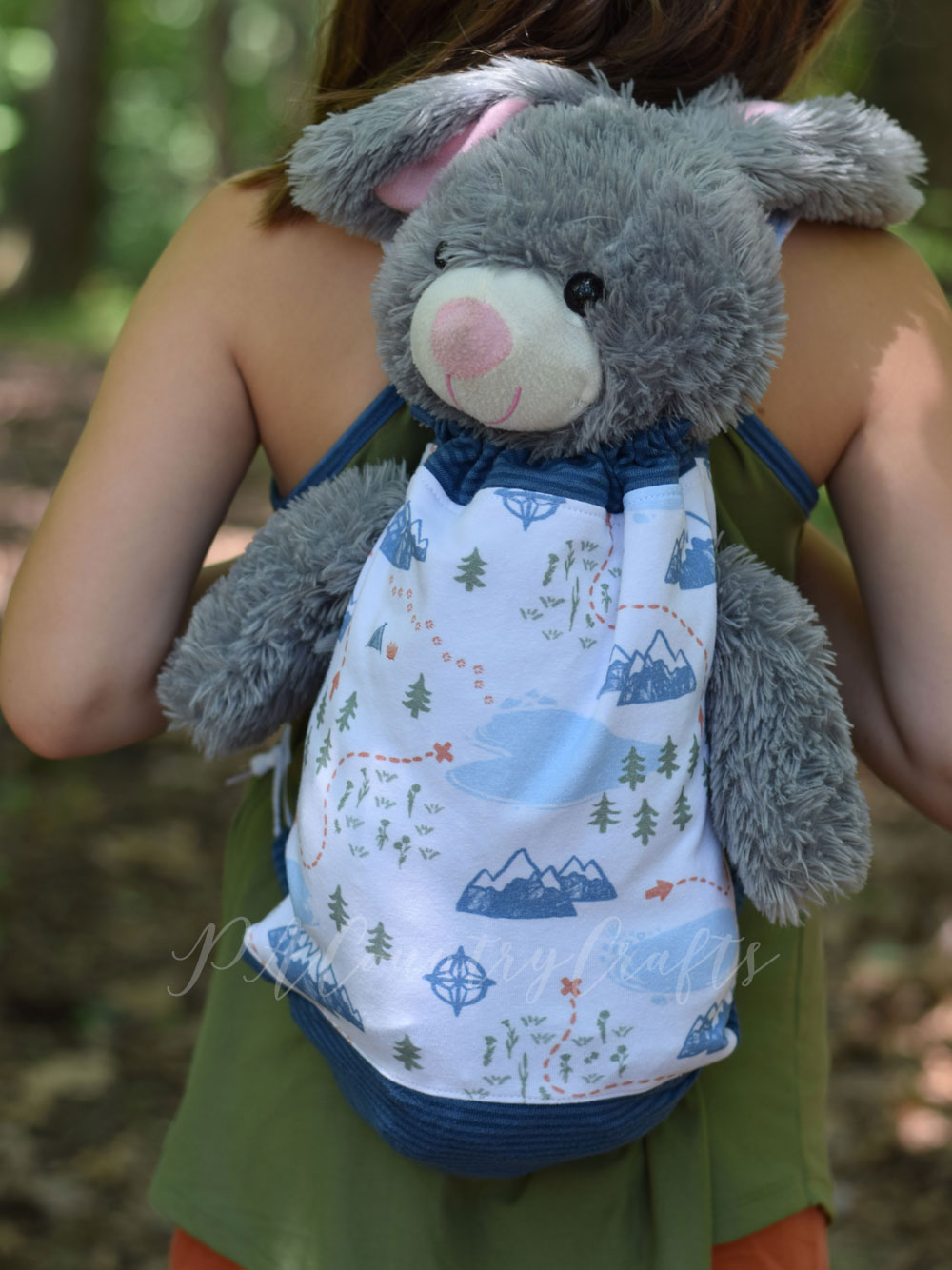 Pajama bag with arm holes for stuffed animals- perfect to pack for a sleepover or camping trip!