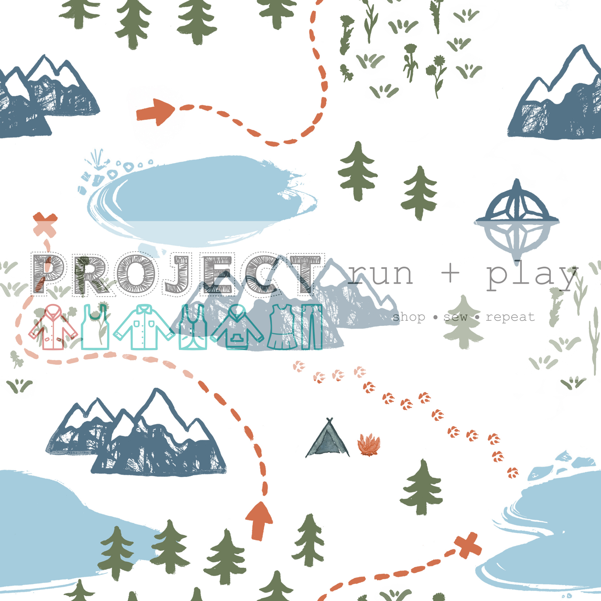 Adventure Mapped Cotton Jersey for Project Run and Play's Project Nature Adventure fabric collection