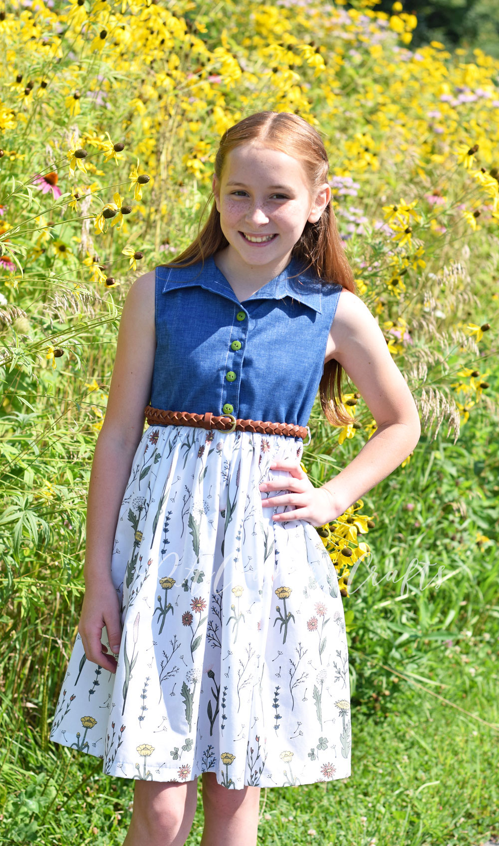 VFT Hattie Dress in Wildflower Surprise cotton poplin fabric