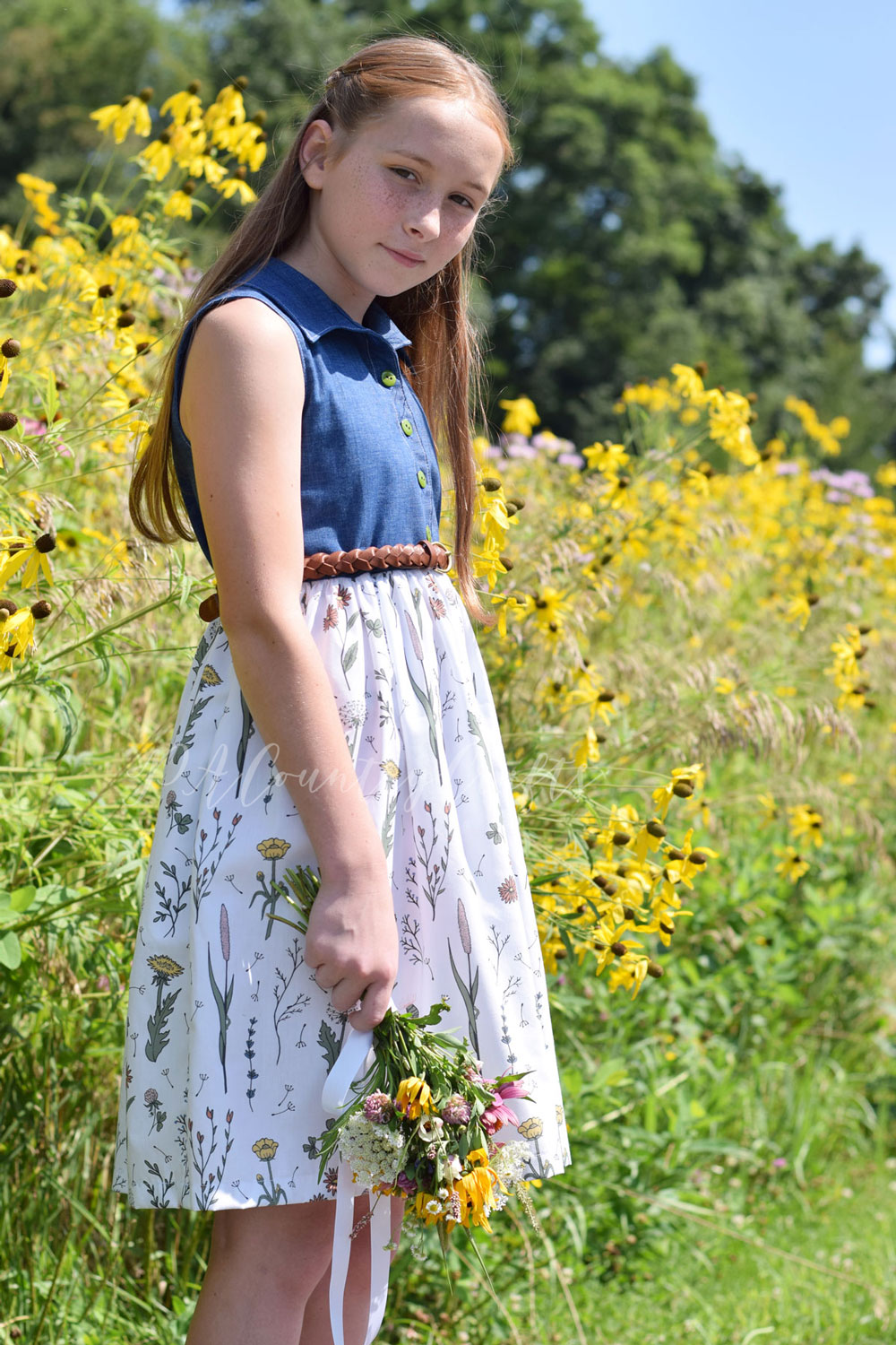 Beautiful girls' dress made with Wildflower Surprise fabric