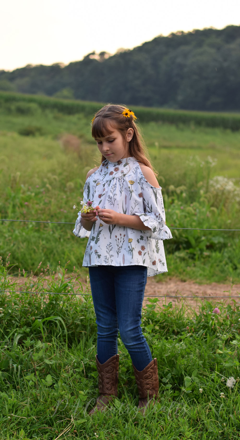 Wildflower Surprise fabric in a boho style girls' shirt!