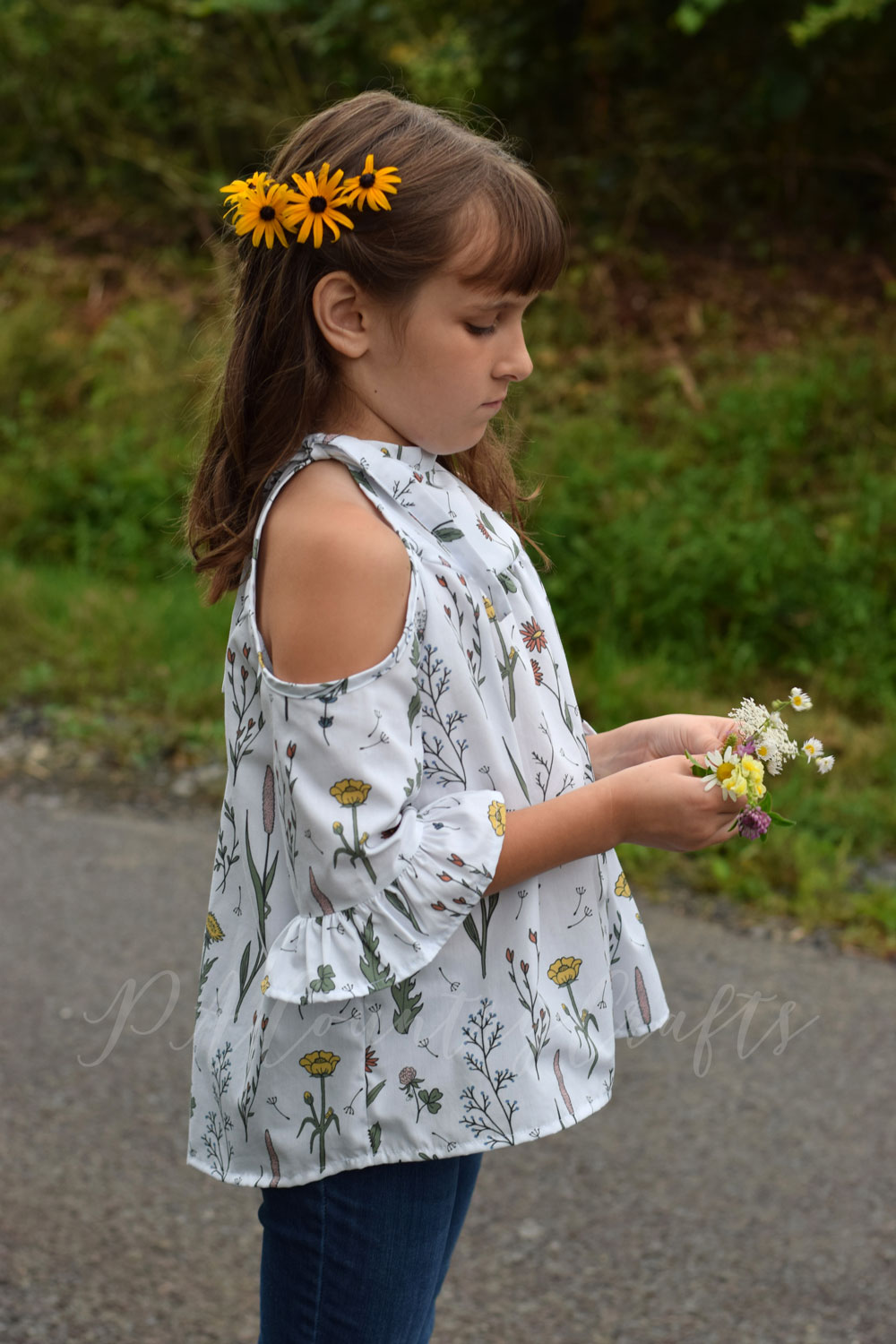 Girls' boho style cold shoulder shirt in Wildflower Surprise cotton poplin fabric