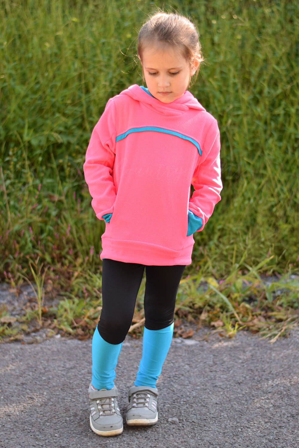 The new Sofiona Designs Bonfire hoodie pairs perfectly with the Rocky Shore tights!