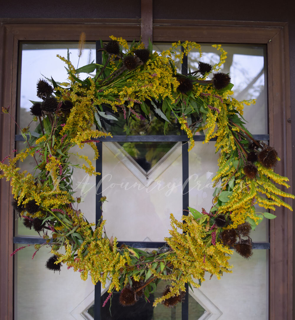 How to make a fall wreath using only weeds and floral wire!