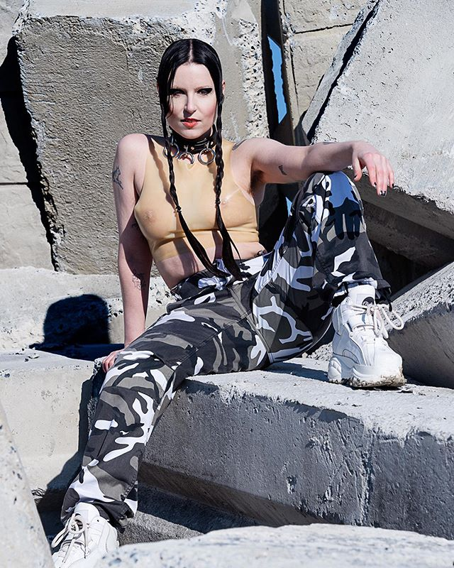 #portrait of @reliquary_______________v  on cement mountain . . . .#portraiture #editorial #editorialphotography #fineartphotography #fineart #art #fashion #fashionphotography #latex #chokers #artists #producers #ravers #electronicmusic #higherselves #industrialzone #cement #postbrutalism #industrial #printsforsale #johnrohrer #johnrohrerart