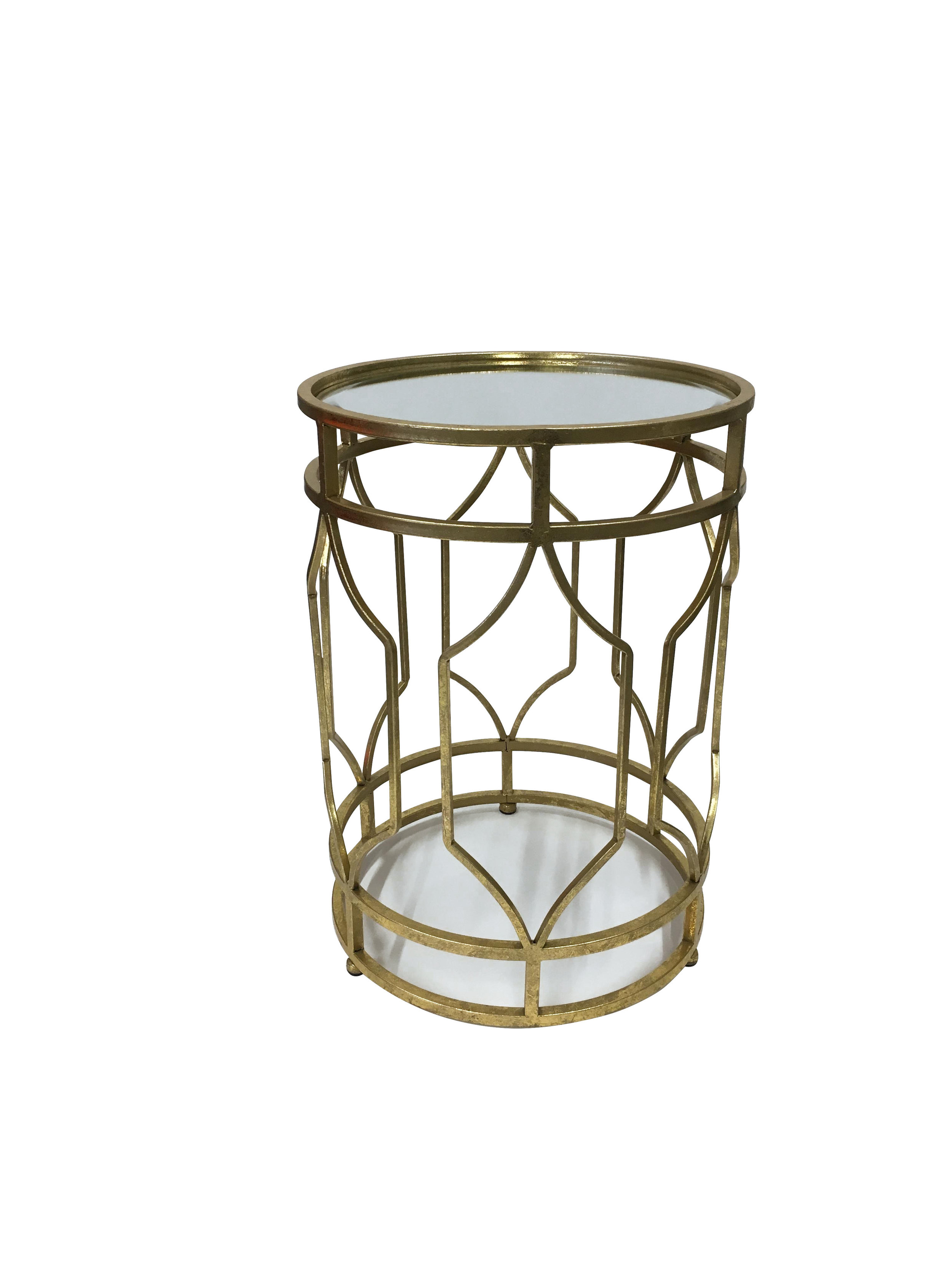 Gold Round Side Table with Mirrored Top1.jpg