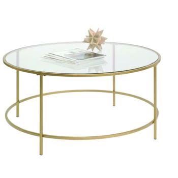Gold Round Coffee Table with Glass Top -