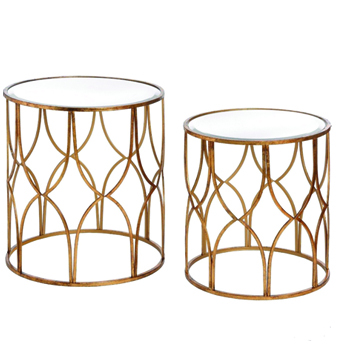 Gold Round Side Table with Glass Top -