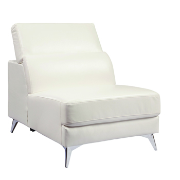 White Armless Sidechair with Adjustable Back -