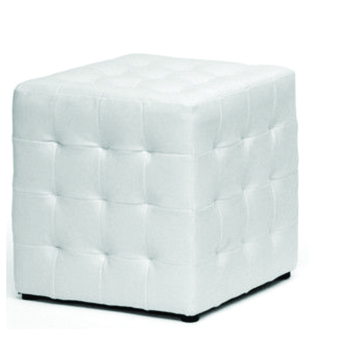 White Cubed Tufted Ottoman -