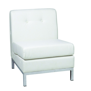 White Modular Armless Chair -