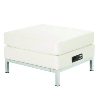 White Ottoman with Charging Port -