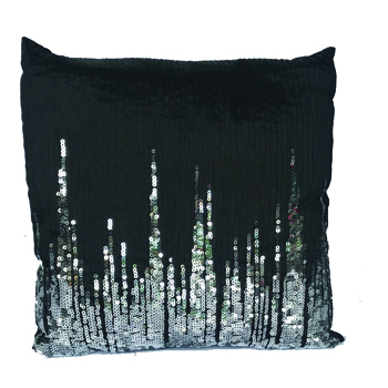 Black Pillow with Silver Sequins -
