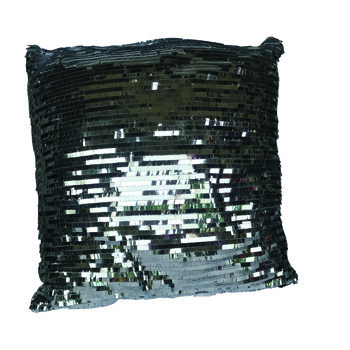 Silver Sequined Pillow -
