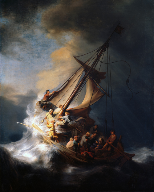 Rembrandt.  The Storm on the Sea of Galilee . 1633. Graphic  retrieved  from Wikimedia Commons. Public domain.