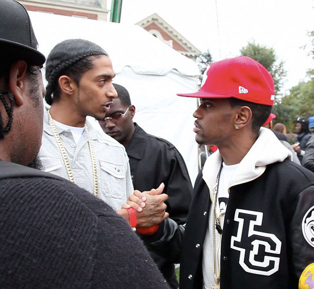 Photo from Big Sean. Copyright CC BY 2.0. Some rights reserved. Showing Nipsey Hussle (left) with Big Sean in October 2009.    Retrieved    from Flickr and cropped for use on Mosaic.