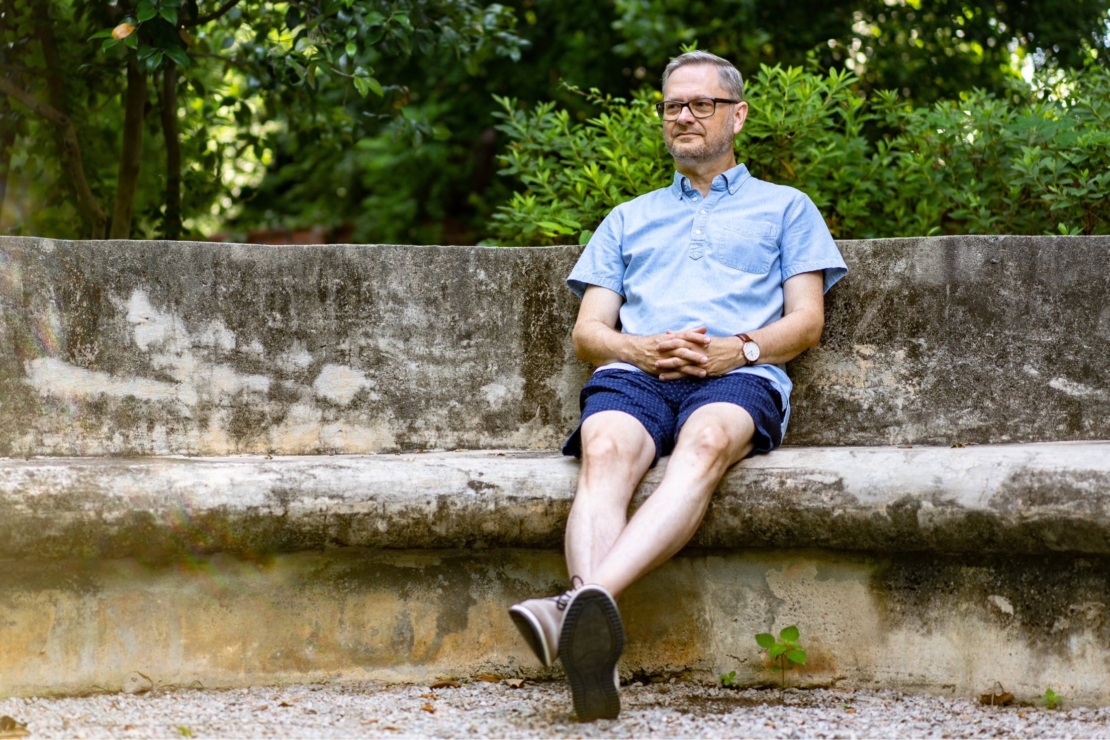 Lee often recharges in three historic gardens within walking distance of his studio. This photo by J. Edward Photography was taken at the Seibels House Garden. The Seibels house is the oldest known building in Columbia, SC.