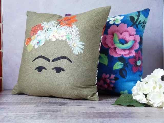 Frida Kahlo Machine Embroidered Cushion