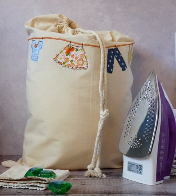 Machine Embroidered Laundry Bag