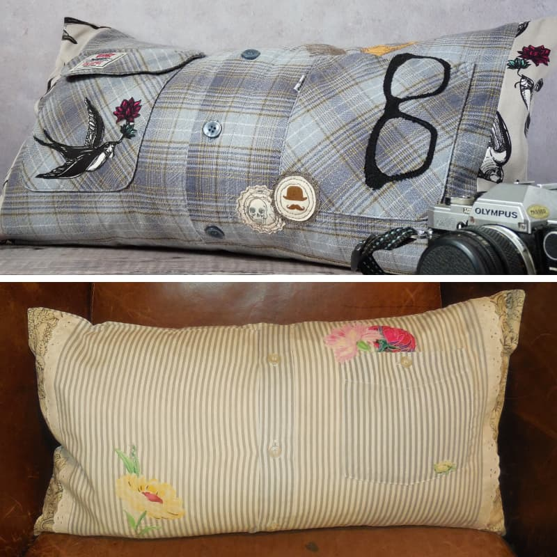 Upcycled Shirt Cushion with Embroidery Detail