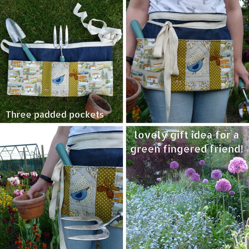 Paper Pieced and Machine Embroidered Gardener's Apron