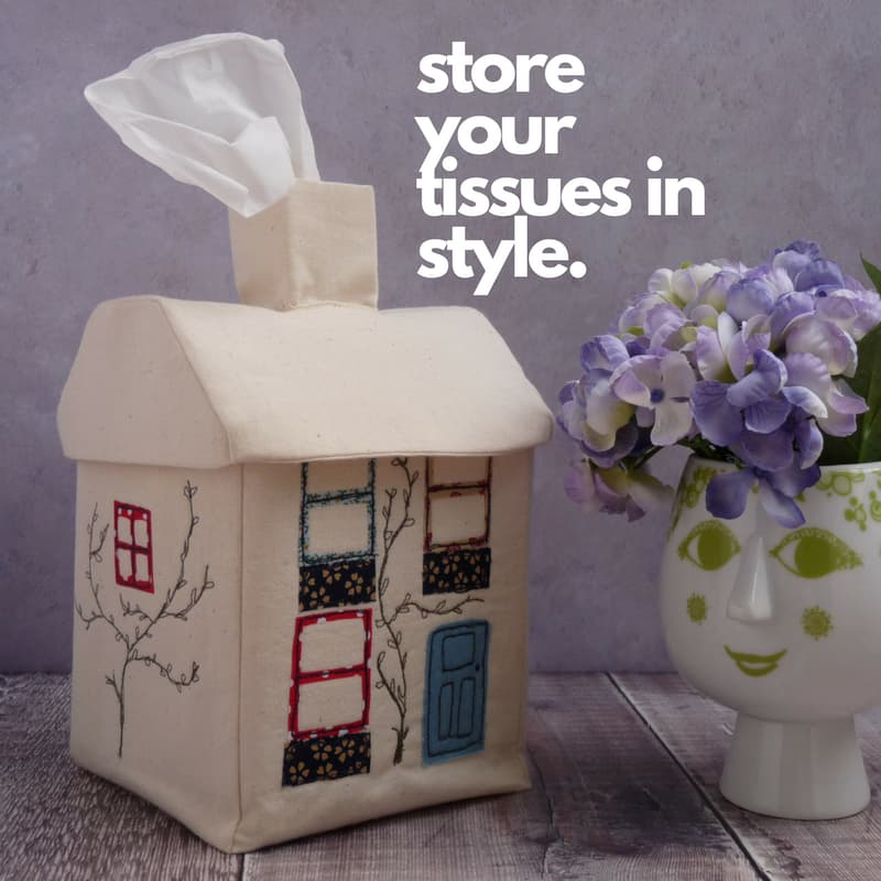 Embroidered House Tissue Box Cover