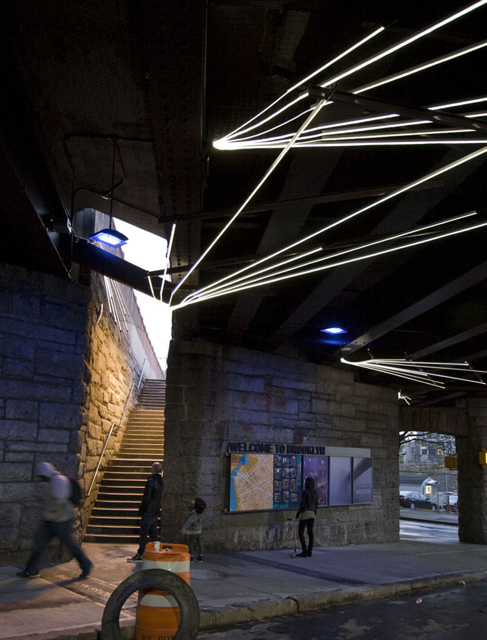 This Way, Brooklyn Bridge underpass art installation: artists Linnaea Tillett & Karin Tehve; lead design consultant Emphas!s Design; commissioned by City of N Y Department of Transportation, Percent for Art Program, and DUMBO Business Improvement District; photo: Seth Ely