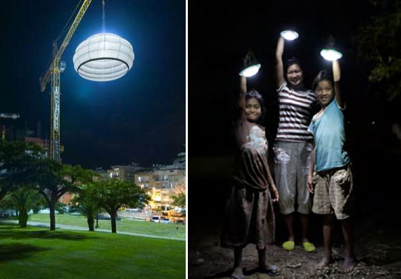 Bat Yam Biennale  +  Kamworks  Left: Lantern hanging from a construction crane. Right: Children holding MoonLights.