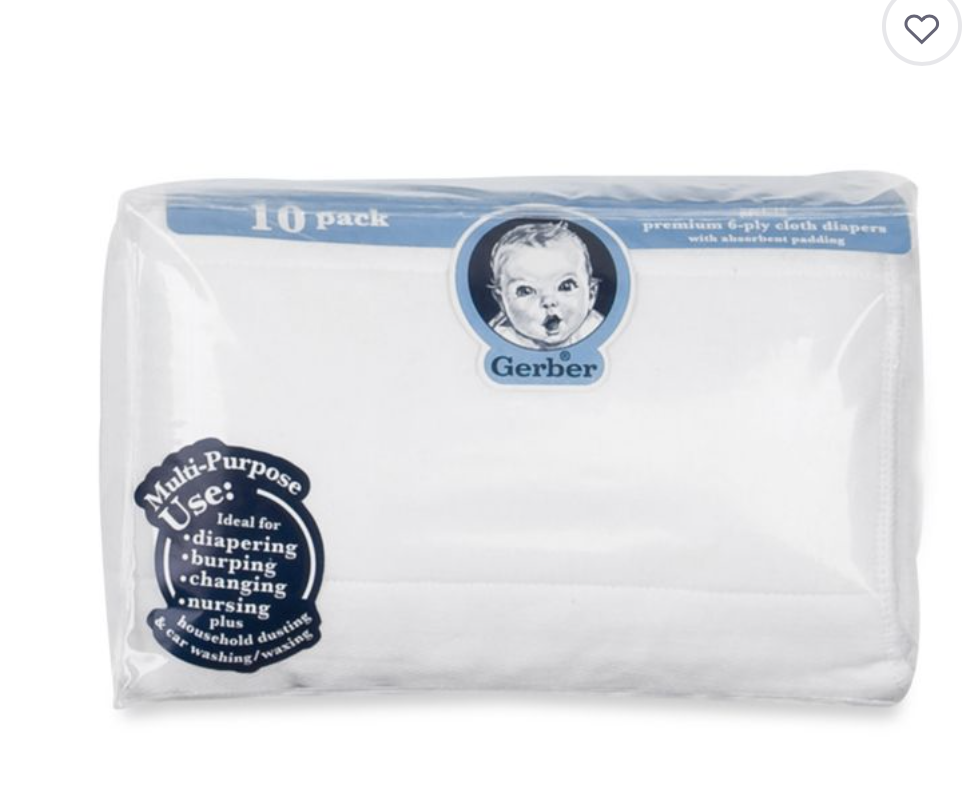 GERBER 10 PACK COTTON DIAPERS WITH PADS - These are perfect for burp cloths! I always have a few in my diaper bag.