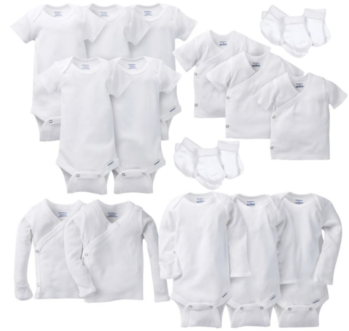 GERBER LAYETTE BASICS - I usually don't buy a lot of newborn, or 0-3 month clothes because both of my babies just lived in these all the time. The long sleeved ones have the built in mittens so they can't scratch themselves.