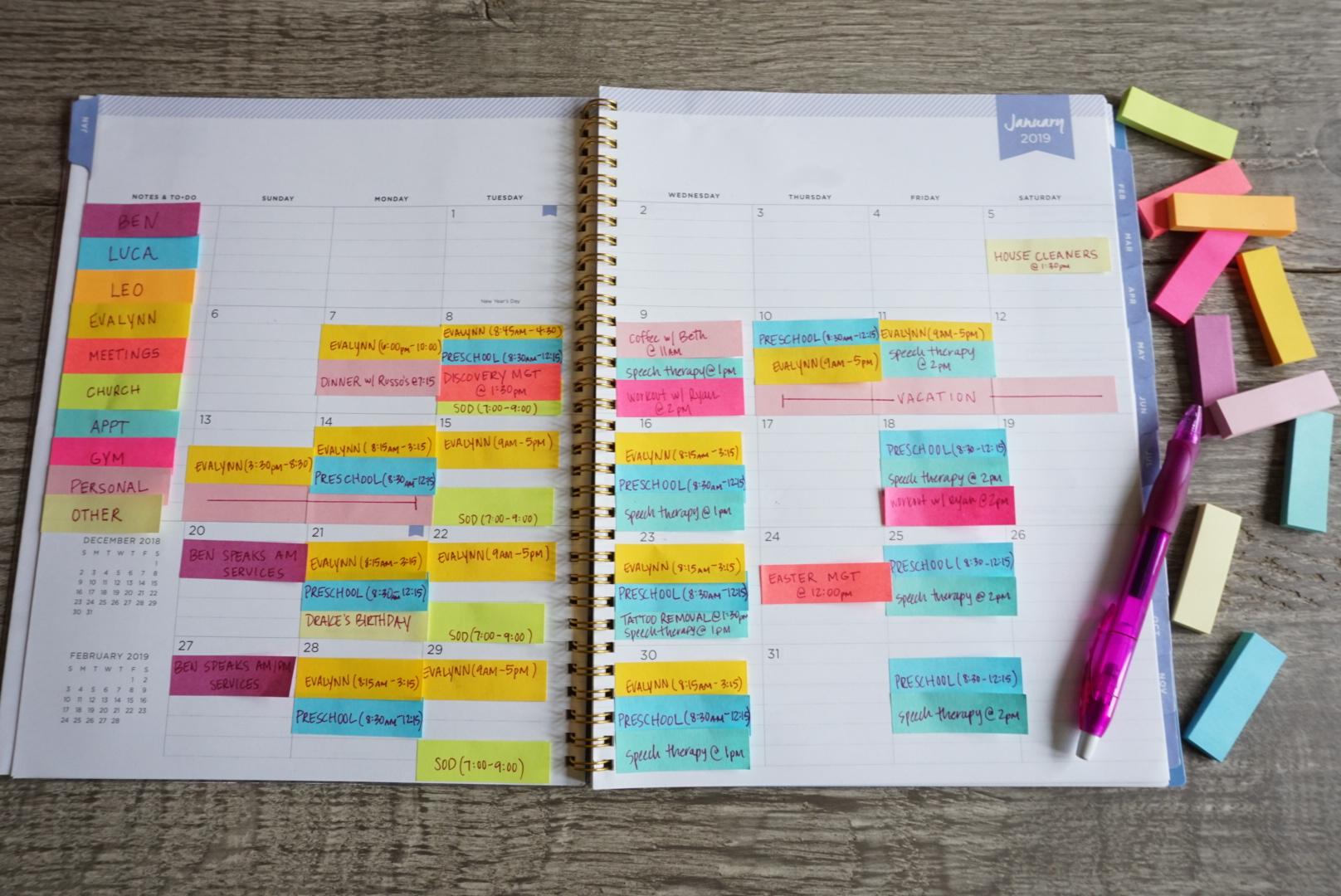How I Organize My Calendar -
