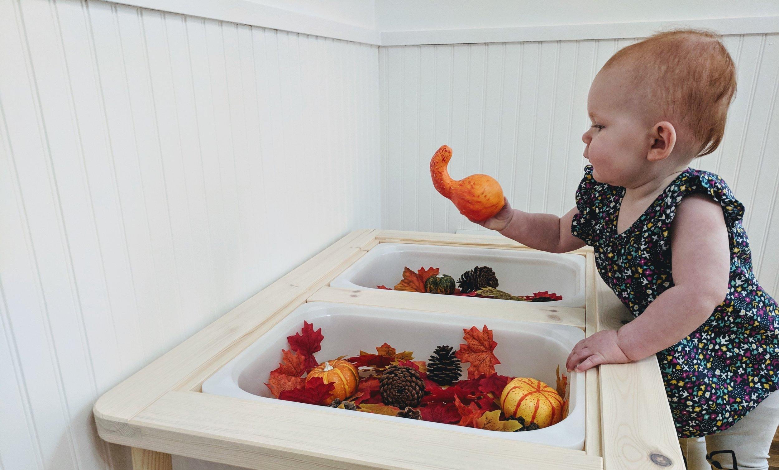 Fall Sensory Play at 15 Months