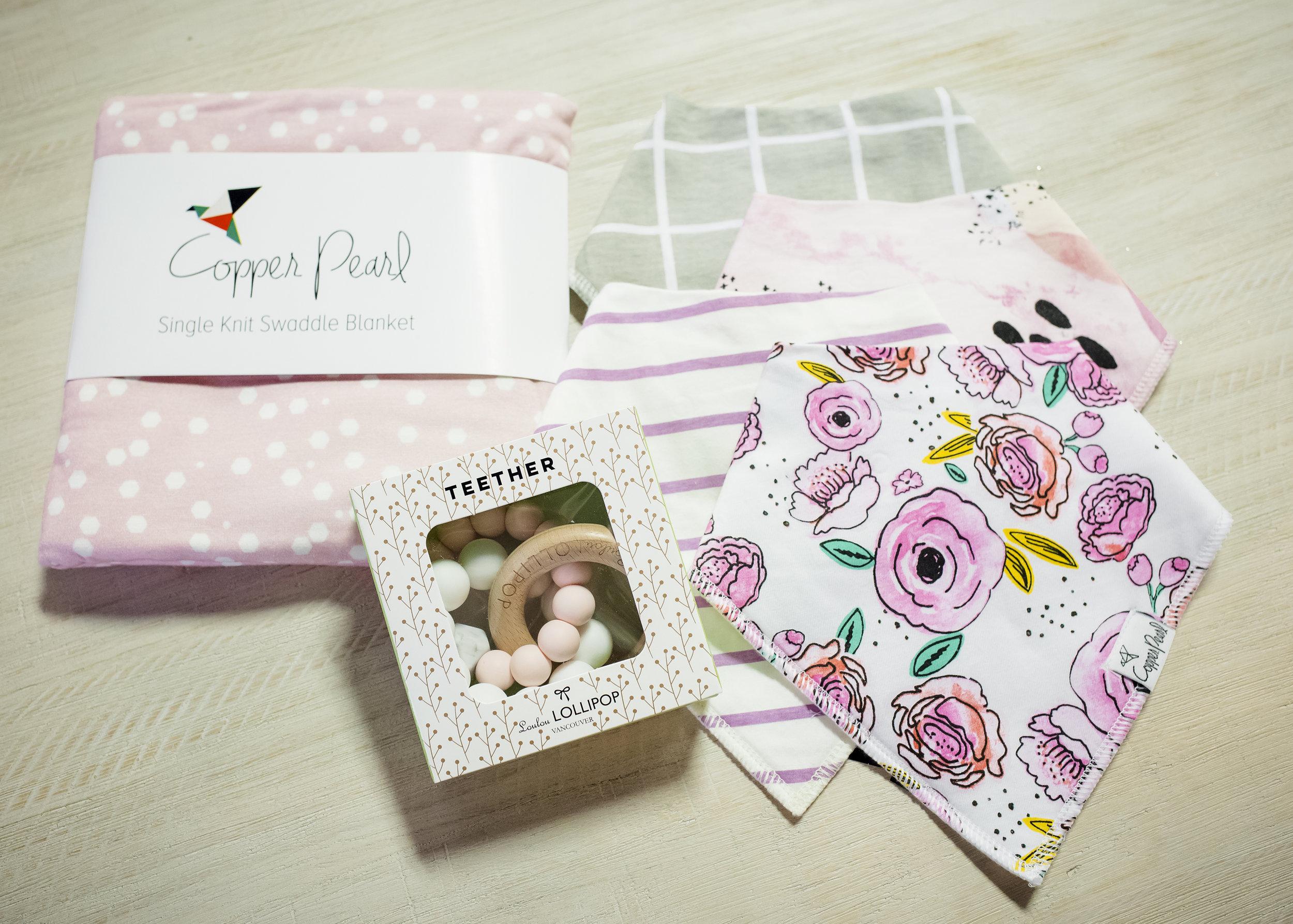 BABY GIRL - Loulou Lollipop Teether | $31Copper Pearl Bibs | $6.50 eaCopper Pearl Swaddle | $30