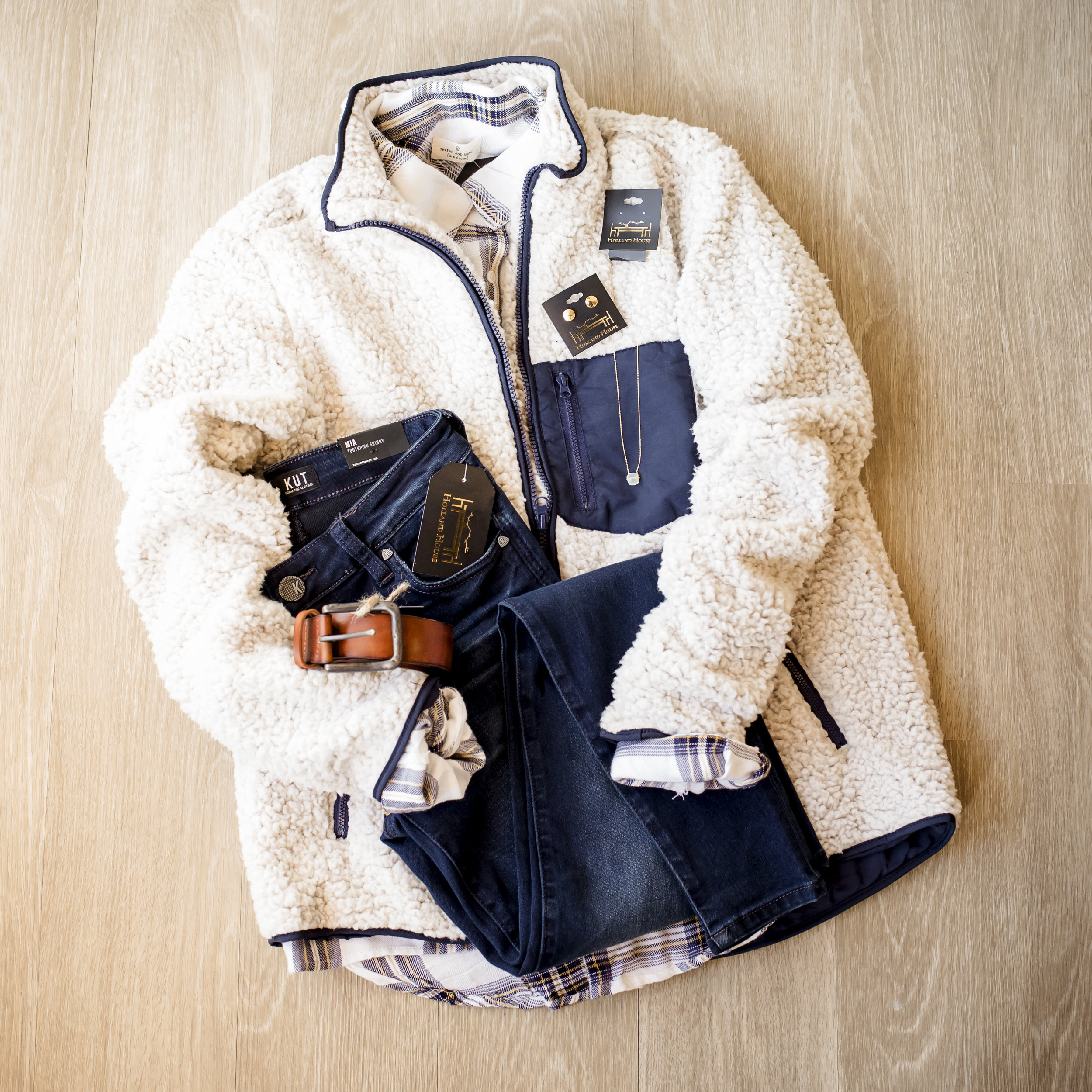 Thread and Supply plaid button-down top $43, Thread and Supply Sherpa zip $73, KUT from the Kloth denim $89, Brown belt $38, Gold thumbtack earrings $16, Frosted marble necklace $14.50