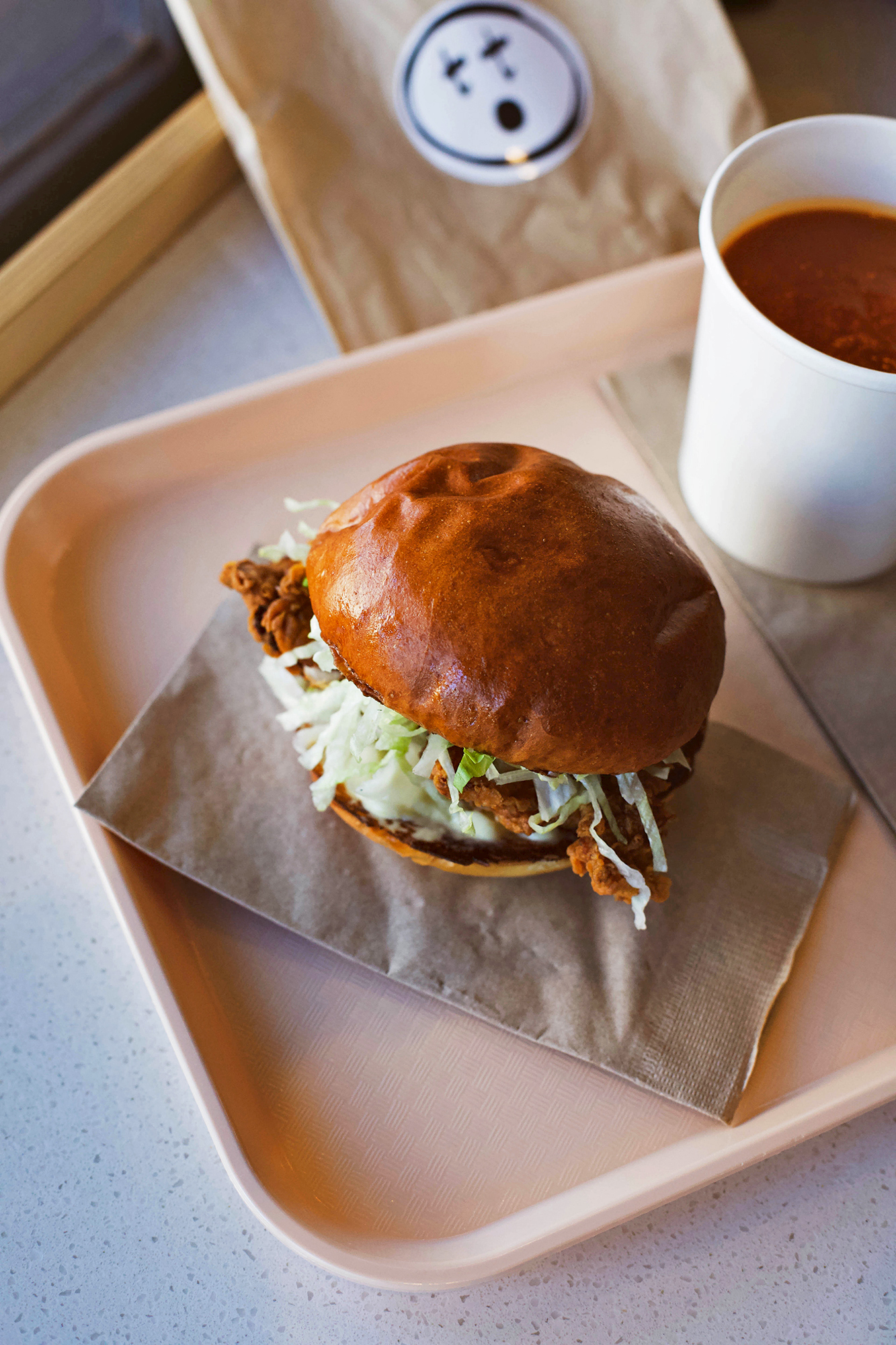 fried chicken burger and tomato soup